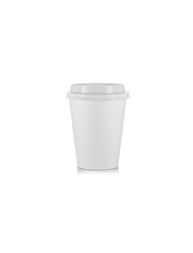 Plain White Paper Cup 12oz Dome Lid Guy And Gordon